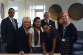 Twinning agreement is signed; Heysel and Carlos centre of picture