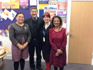 Guisell Morales, Jose Antonio Zepeda, Christine Blower and Samidha Garg (NUT International Secretary)