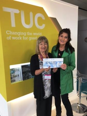 Marion Colverd, General Manager, TU Fund Managers Limited, presenting Louise Richards from NSCAG with cheque during TUC Congress