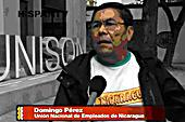 Domingo Perez, General Secretary of Nicaraguan Public Sector Union UNE, when he visited the UK in his speaker tour last June